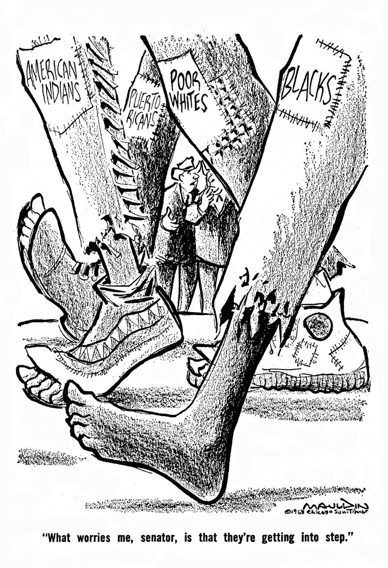 "A cartoon from the original Poor People's Campaign. ""What worries me, senator, is that they're getting into step."""